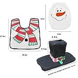JUN-Q Christmas Cute Santa Toilet Seat Cover and Rug Tank Commode Set + Sensor Toilet Light Red Christmas Decoration Bathroom Set Snowman