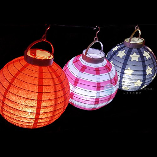 Quasimoon PaperLanternStore.com 8'' 4th of July Red, White and Blue Battery Operated LED Paper Lantern Light Set (3-PACK) by Quasimoon