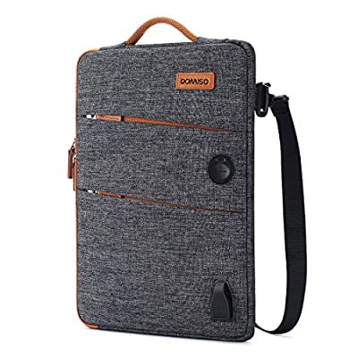 DOMISO Waterproof Laptop Sleeve Canvas with USB Charging Port Headphone Hole Notebook Portable Carrying Bag for Laptops/Tablets/Apple/Acer/HP/Lenovo/Dell/ASUS/MSI