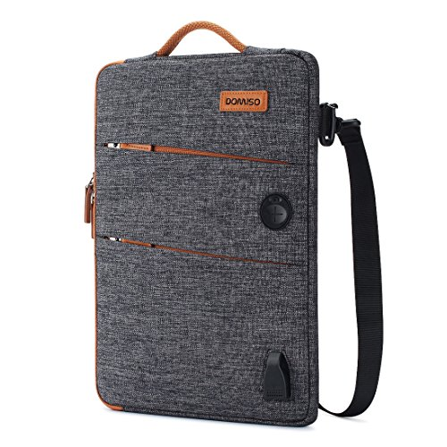 DOMISO 13.3 Inch Waterproof Laptop Sleeve Canvas with USB Charging Port Headphone Hole for 13-13.3 Inch Laptops/MacBook Pro Retina/Dell Inspiron 13 XPS 13 / Asus/Acer / Lenovo/HP