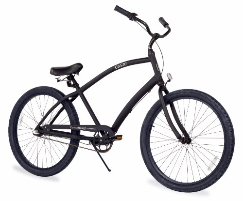 - Firmstrong Men's CA-520 Alloy 3-Speed Beach Cruiser Bicycle, 26-Inch, Matte Black