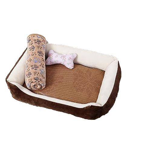 LJ-PET Gamuza Cama de Perro, Cuadrado Acolchado Amortiguador del Animal doméstico para Dormir
