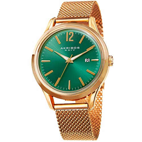 (Akribos XXIV Men's Quartz Gold-Tone Case with Gold-Tone Accented Green Sunray Dial on Gold-Tone Mesh Stainless Steel Bracelet Watch AK920YGGN)