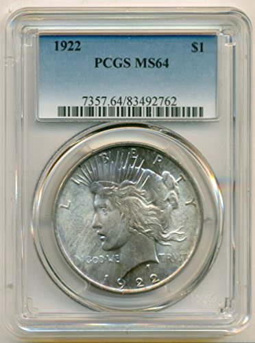 1922 Peace Silver Light Obverse Color Dollar MS64 PCGS