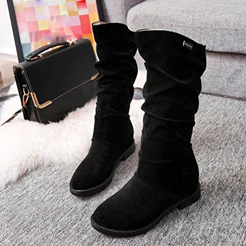 Mujer Pierna Botas Plana youth® Para de Gamuza Zapatos Mujer Mujer Negro K Botas Botines Alta awSz8xqEv