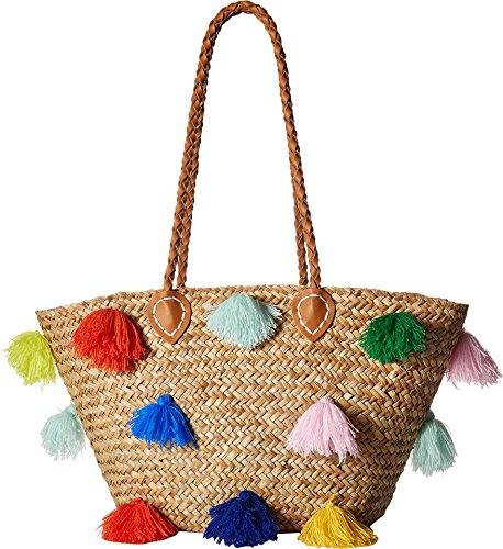 - San Diego Hat Company Women's BSB1566 Seagrass Tote with Multicolored Poms and Pleather Handle Natural One Size