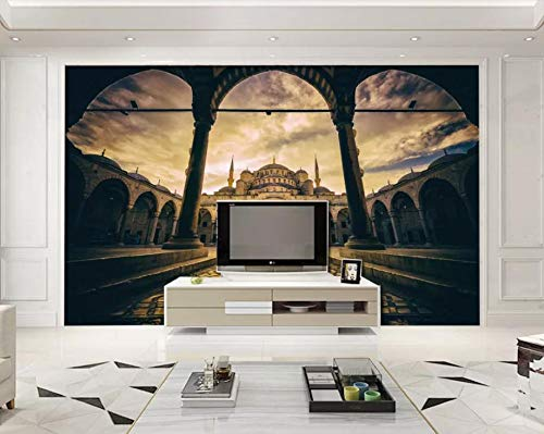 (Panoramic Mural Marble Column Tv Background Wall 3 D Wallpaper for Walls Castle Living Room Bedroom 3D Mural Wallpaper Photo Wall Mural-300x250CM)