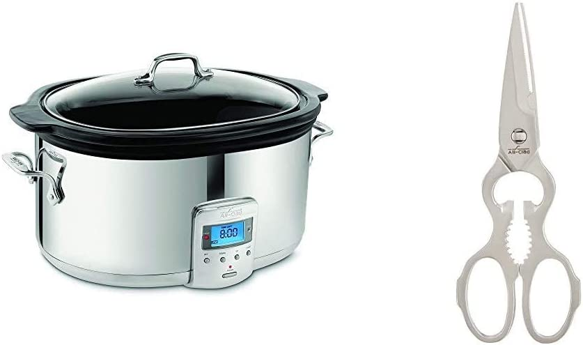 All-Clad SD700450 Programmable Oval-Shaped Slow Cooker with Black Ceramic Insert and Glass Lid, 6.5-Quart, Silver & C3220908 Stainless Steel Kitchen Shears