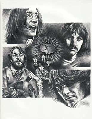 Beatles Imagine Original Sketch Prints - Poster Size - Black & White - Features John Lennon, Paul McCartney, George Harrison and Ringo Starr. Print of Highly-Detailed, Handmade Drawing By Artist Mike Duran