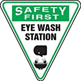 Accuform MSHP910XV Shape & BIGShape Signs SAFETY FIRST EYE WASH STATION(GRAPHIC)Upsd-Down Triangle 12'' Adhsv DuraVnyl
