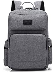 Augur 15.6 inch Classic Laptop Backpack for men women Oxford Fabric Lightweight Travel Rucksack (Large, Grey)