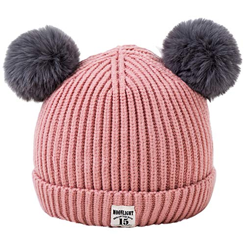 FEDULK Baby Hat Fall Winter Warm Knitted Cute Bear Beanie Pompom Children Caps(Pink, One Size)]()