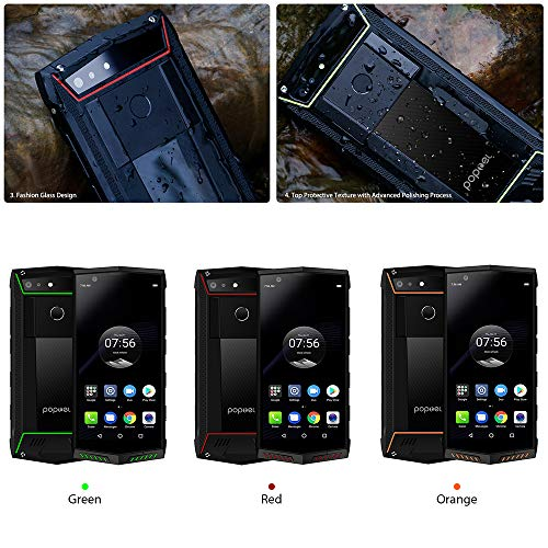 "IP68 Waterproof Unlocked Smartphones,Dual 4G Lte Rugged Android Phone,6GB/128GB,POPTEL P60,5.7""FHD Gorilla Glass,Octa Core,Face Id,Dual Ai Camera,NFC,SOS Wireless Charging Mobile Phone (Orange"