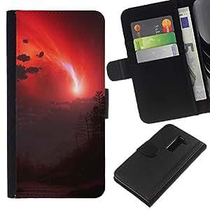 NEECELL GIFT forCITY // Billetera de cuero Caso Cubierta de protección Carcasa / Leather Wallet Case for LG G2 D800 // cielo rojo