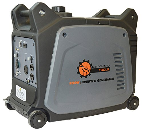 - Dirty Hand Tools | 104612 | 3200 Watt Gas Powered Electric Start Inverter Generator | Portable Power Supply | 6 Hour Run Time | 2-120V AC Outlets, 1-12V DC Port, 1-USB Port, 1-120V L5-30R RV Plug