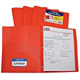 C-Line Two-Pocket Heavyweight Poly Portfolio with Prongs, For Letter Size Papers, Includes Business Card Slot, 1 Case of 25 Portfolios, Orange (33962-25)