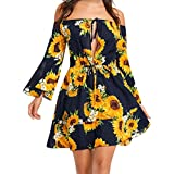 GBSELL Fashion Women's Summe Boho Off Shoulder Sunflower Dress (XL)