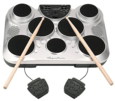 Spectrum AIL 602 7-Pad Digital Drum Set with Adjustable Stand, Pedals, Sticks and AC Adapter from M & M Merchandisers Inc