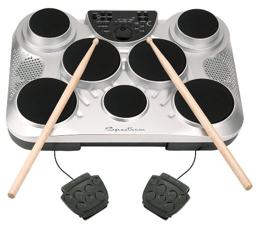 Spectrum AIL 602 7-Pad Digital Drum Set with Adjustable Stand, Pedals, Sticks and AC Adapter