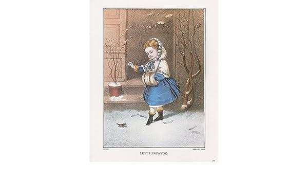 """1972 Vintage Currier /& Ives /""""LITTLE SNOWBIRD/"""" CHILDHOOD Color Print Lithograph"""
