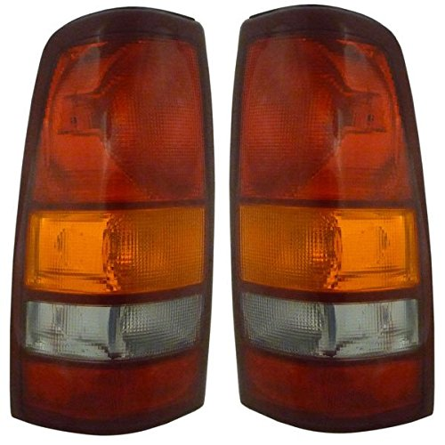1999-2002 Chevy/Chevrolet Silverado & 1999-2003 GMC Sierra 1500 2500 & 2002-2003 Sierra 3500 Full Size Pickup Truck Fleetside/Wideside Taillight Taillamp Lens & Housing Rear Brake Tail Light Lamp Set Pair Right Passenger AND Left Driver Side (1999 99 2000