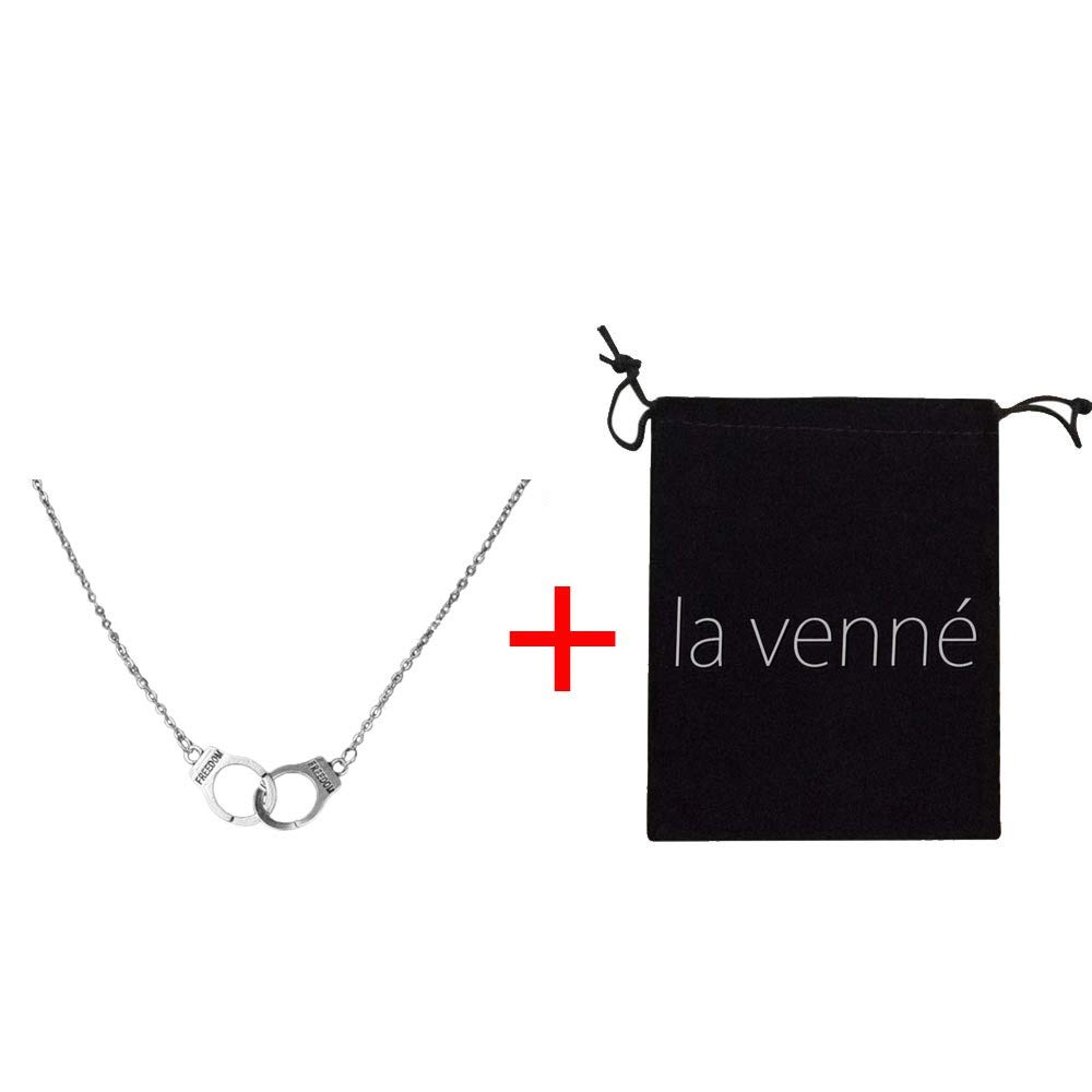 HUAMING Fashion Simple Style Pop 2 Ring Necklace Clavicle Small Chain Women's Necklace +Flannel Storage Bag (Silver)