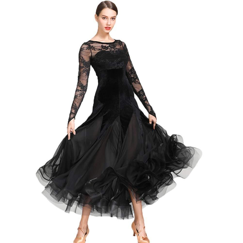 女性のための国家の標準的なウエディングドレス競技衣装ベルベットレースステッチソーシャルドレスタンゴモダン社交チュールスカート B07QM71V9Q XL|ブラック ブラック XL