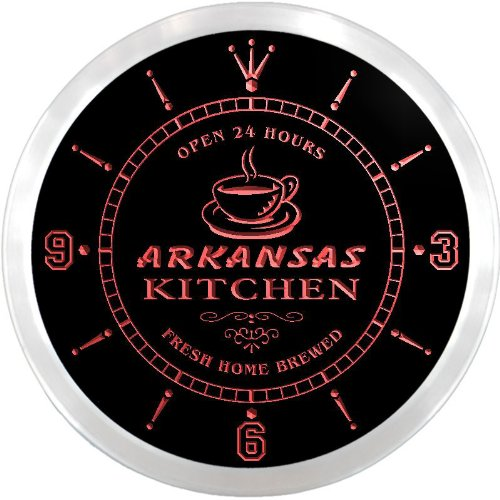 Arkansas Led Sign (ncpc2004-r Arkansas Home Kitchen Open Bar Beer Neon Sign LED Wall Clock)