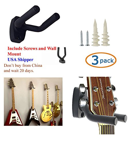 (TopStage K610 3/4H Set of 3 Guitar Hangers Hook Holder Wall Mount Display - w/Mounting Hardware)