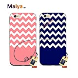 Best Friends Phone Cases BFF Phone Cases iPhone 6/6S,Beauty and Beast Pair Best Friends Chevron Infinity Pink Blue Personalized Matching Couple Phone Case for Girls Boys TPU Case Rubber Black 2 Pcs