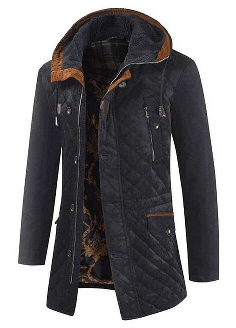 Fubotevic Mens Winter Hooded Thicker Loose Thermal Longline Down Coat Jacket Overcoat