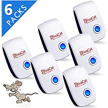 DivaCat 6 Pack Ultrasonic Pest Repeller Plug in Humane Mice Control Newest Electronic Insect Repellent for Mosquito Bed Bug Fly Rodent Cockroach Spider Rat, Non-Toxic & Environment Friendly