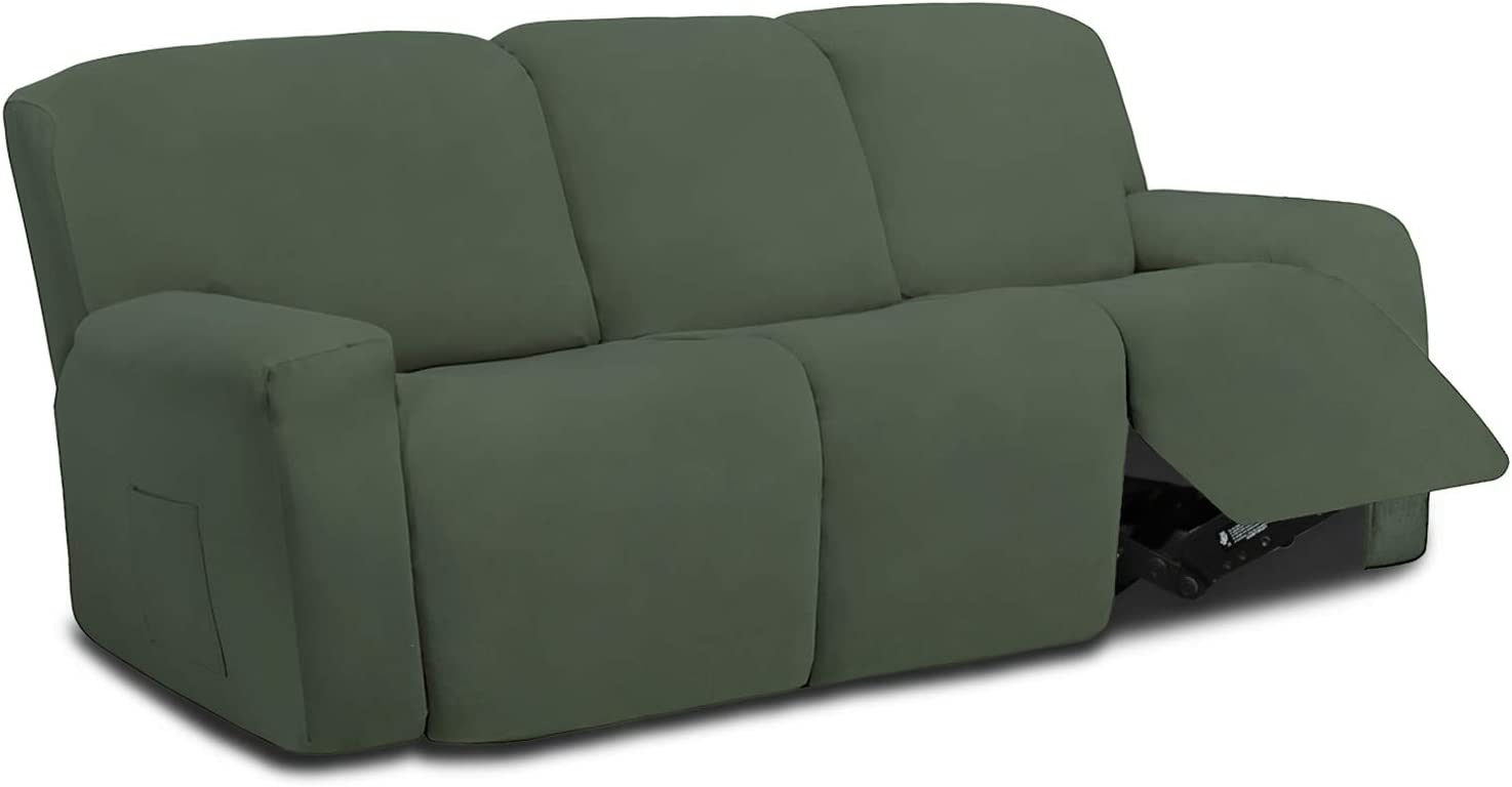 Easy-Going 8 Pieces Microfiber Stretch Sectional Recliner Sofa Slipcover Soft Fitted Fleece 3 Seats Couch Cover Washable Furniture Protector with Elasticity for Kids Pet(Recliner Sofa,Greyish Green)