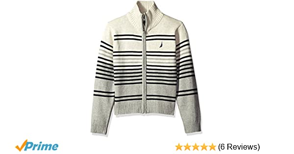 95a74f83c34e Amazon.com  Nautica Boys  Full Zip Sweater With Heather Stripe  Clothing
