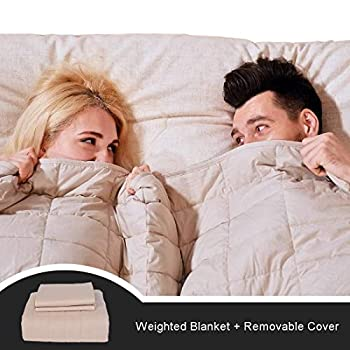 Image of CJXM King Size Weighted Blanket & Cover (22 lbs,82?x87?,16 Loops,400 Thread Count) 3.0 Luxury Cotton Heavy Blanket Weighted for Couples,Adults, Queen/King Size Bed CJXM B07Q22XB8M Weighted Blankets