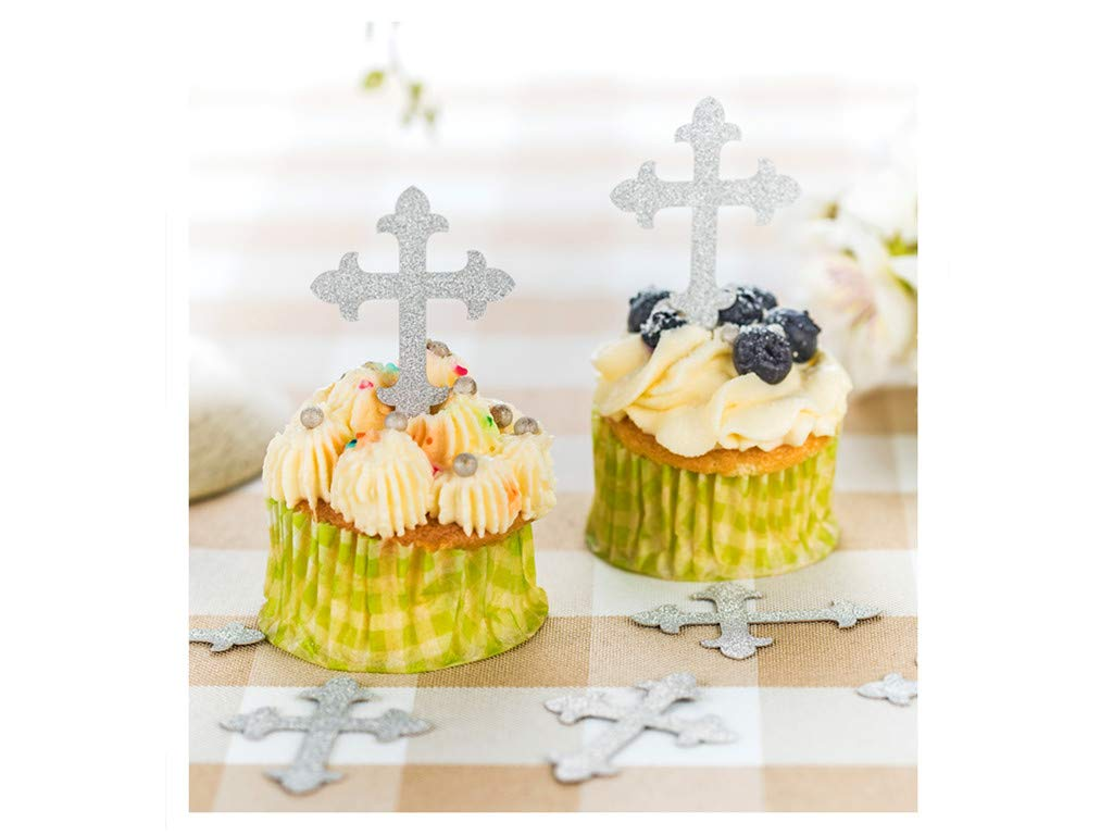 JOLALIA 50PCS Cross Cupcake Toppers, DIY Cupcake Decoration, Cross Party Supplies for Baptism Decorations, Christening Party, Confirmation Wedding (Silver)