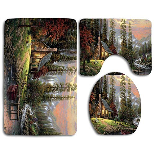 Bath Mat Sets Chalet Painting Contour Rug U-Shaped Toilet Lid Cover,Non Slip,Machine Washable,3-Piece Rug Set Easier to Dry for Bathroom