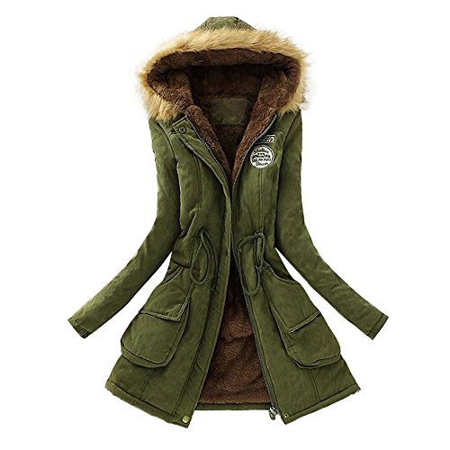 Realdo Women Coat Inner Plush, Women Fur Collar Hooded Jacket Slim Winter Parka Outwear(Large,Army Green) -