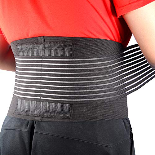 Cotill Back Brace Lumbar Lower Belt Brace and 8 Stable Splints Support - Dual Adjustable Straps and Breathable Mesh Panels for Back Pain and Stress Relief (L/XL)