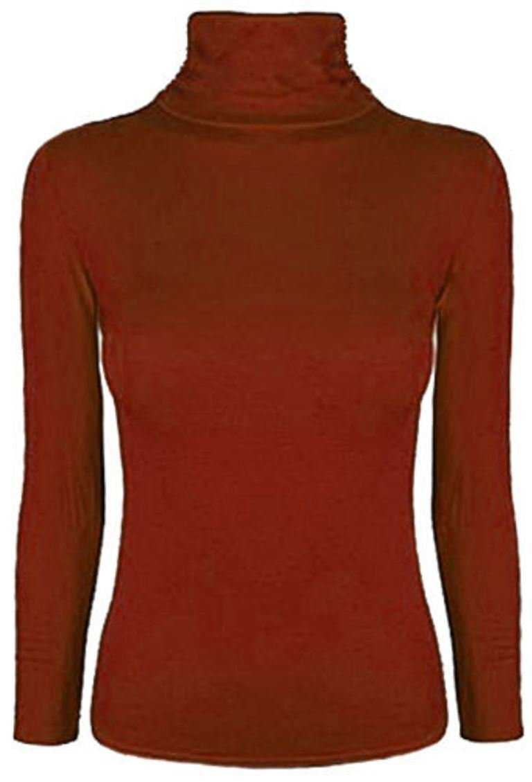 Ladies Women Stretch Plain Polo Turtle Roll Neck T Shirt Jumper Top Plus Size