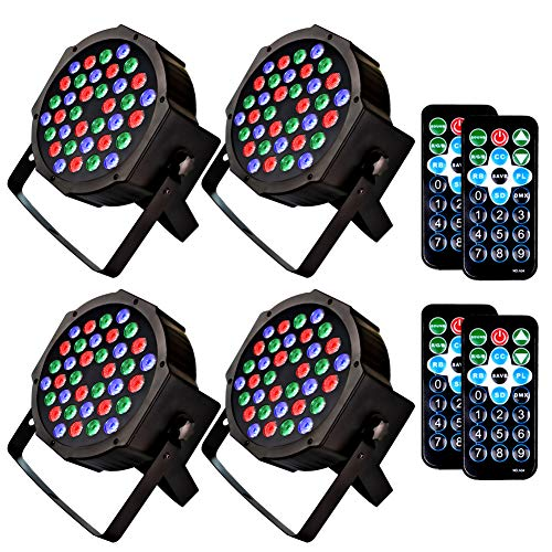 (KOOT DJ Stage Light 36 LEDs Disco Party Lighting RGB Up Wash Strobe Lights with DMX Control and Remote Control for Karaoke Club Bar Wedding Show(4 pack))