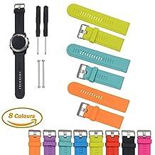 For Garmin D2/Fenix/Fenix2/Fenix3/Fenix3 HR/Quatix/Quatix3/Tactix Sports GPS Smart Watch Replacement Band, Feskio Soft Silicone Strap Replacement Watch Band with Screwdriver and Lug Adapter for Garmin