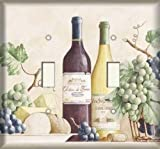 Double Light Switch Plate Cover - Grapes and Wine