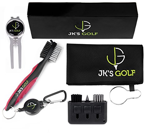 Golf Brush Kit – 2x Brushes, Microfiber Towel, Club Groover, Divot Tool, Ball Marker & Clip – Retractable Carabiner Attaches to Golf Bag with 3-in-1 Pocket Brush – Golf Accessories & Cleaner Gift Set