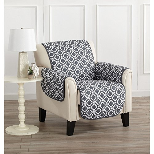 MN 1 Piece Blue Silver Grey Geometric Chair Protector, Gray Medallion Diamond Shape Pattern Circle Dot Ikat Jacquard Modern Sleek Trendy Couch Protection Cover Pets Animals Covers, Polyester by MN