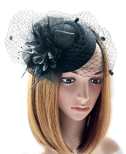 (Coolwife Fascinator Hats Pillbox Hat British Bowler Hat Flower Veil Wedding Hat Tea Party Hat)