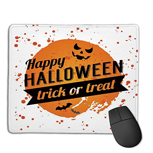 Premium-Textured Mouse Mat,Non-Slip Rubber Mousepad Waterproof,Halloween,Happy Halloween Trick or Treat Watercolor Stains Drops Pumpkin Face Bats,Orange Black White,Applies to Games,Home, School,Off]()