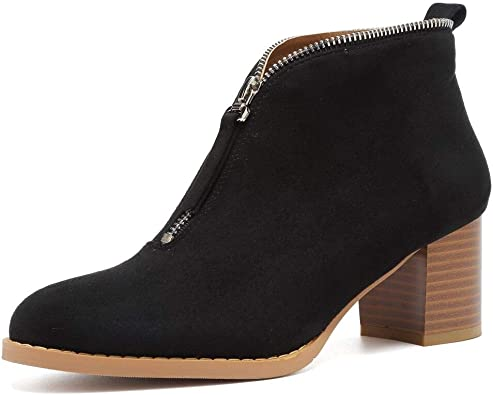 Women Booties Zip Up Thick Heeled Boots Zipper Faux Suede Shoes by Lowprofile