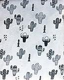 Nate & Nat 4 Piece Cotton Flannel Queen Size Bed Sheet Set Desert Saguaro Cactus Southwest Aztec Geometric Patterns Black on White