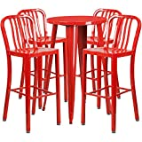 Flash Furniture 24'' Round Red Metal Indoor-Outdoor Bar Table Set with 4 Vertical Slat Back Stools